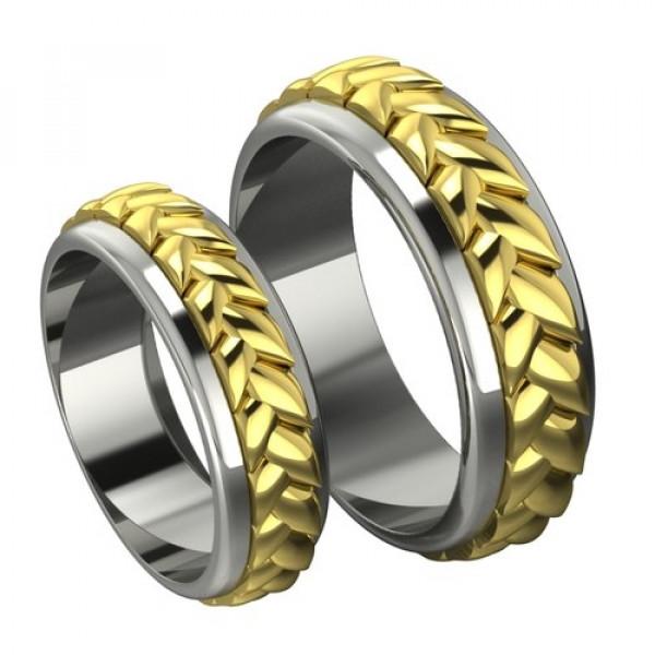 Обручальное кольцо 'Косичка' из комбинированного золота