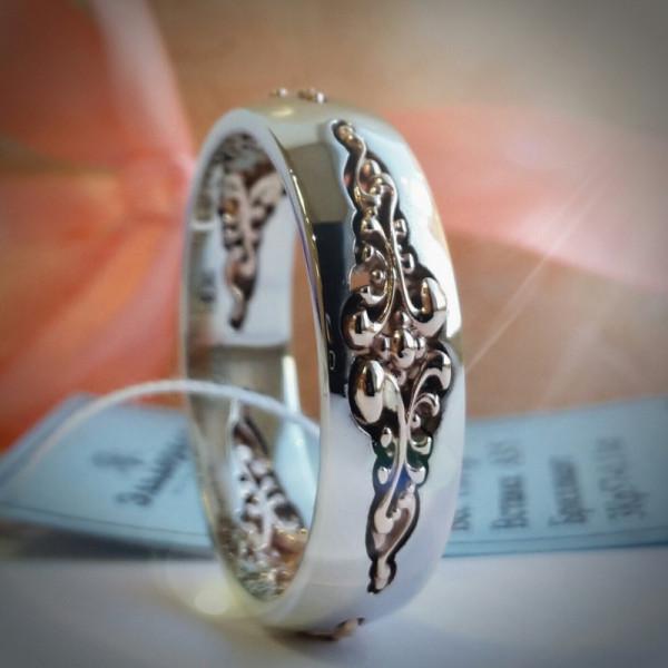 Обручальное кольцо Кружево из комбинированного золота