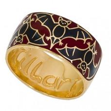 Обручальное кольцо 'Летучие мыши' из желтого золота с эмалью