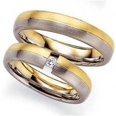 Обручальное кольцо матовое из комбинированного золота