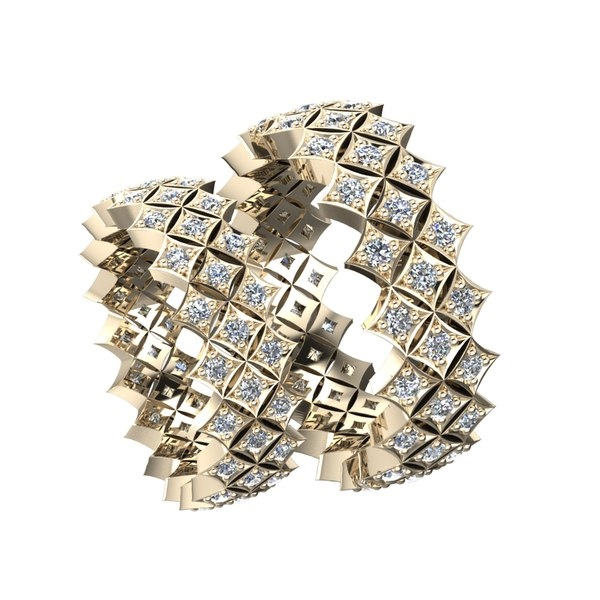 Обручальное кольцо необычной формы из красного золота с бриллиантами