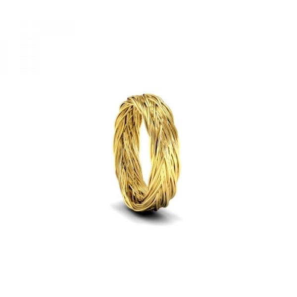 Обручальное кольцо 'Плетение' из желтого золота с узором