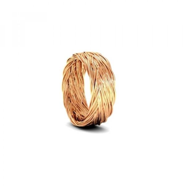 Обручальное кольцо 'Плетение' из розового золота