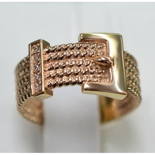 Обручальное кольцо 'Ремень'из красного золота с бриллиантами