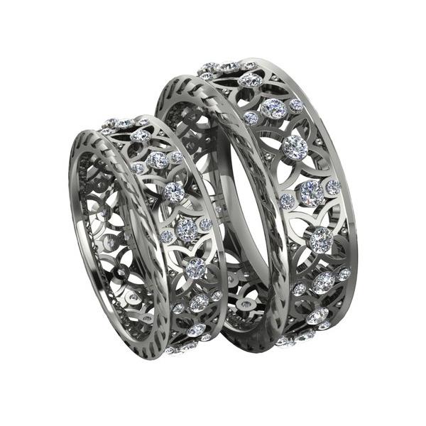 Обручальное кольцо 'Романтика' из белого золота с бриллиантами