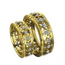 Обручальное кольцо 'Романтика' из желтого золота с бриллиантами