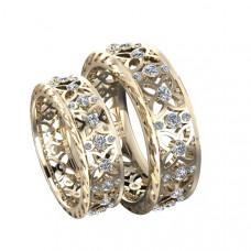 Обручальное кольцо 'Романтика' из красного золота с бриллиантами