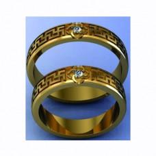 Обручальное кольцо с бриллиантом, амиандром и свадебным амулетом