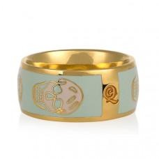 Обручальное кольцо с черепами из желтого золота с эмалью