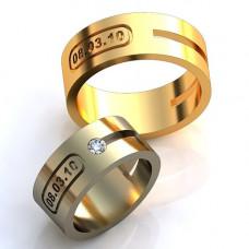 Обручальное кольцо с датой из белого золота с бриллиантом