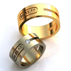 Обручальное кольцо с датой из желтого золота