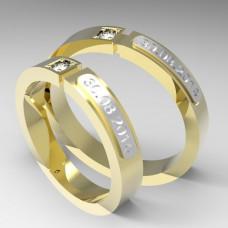 Обручальное кольцо с датой из комбинированного золота с бриллиантом