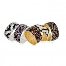 """Обручальное кольцо с эмалью 'Летучая мышь"""""""