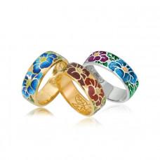 Обручальное кольцо с эмалью