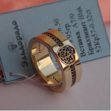 Обручальное кольцо с сердцем из черных бриллиантов из желтого золота