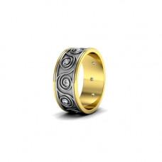 Обручальное кольцо с узором из комбинированного золота с бриллиантами
