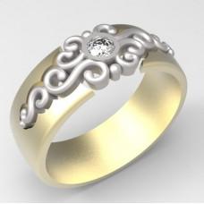 Обручальное кольцо с узором из комбинированного золота с бриллиантом