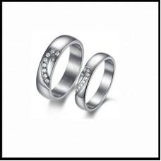 Обручальное кольцо 'Сердце' из белого золота с бриллиантами