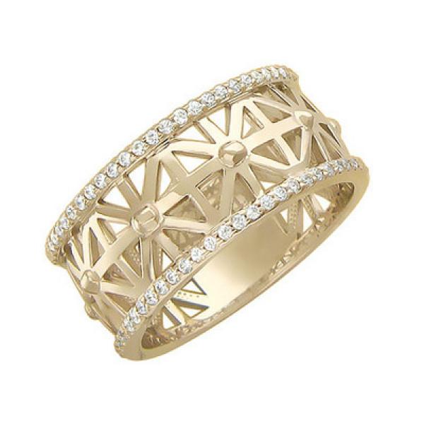 Обручальное кольцо 'Снежинки' из белого золота с бриллиантами