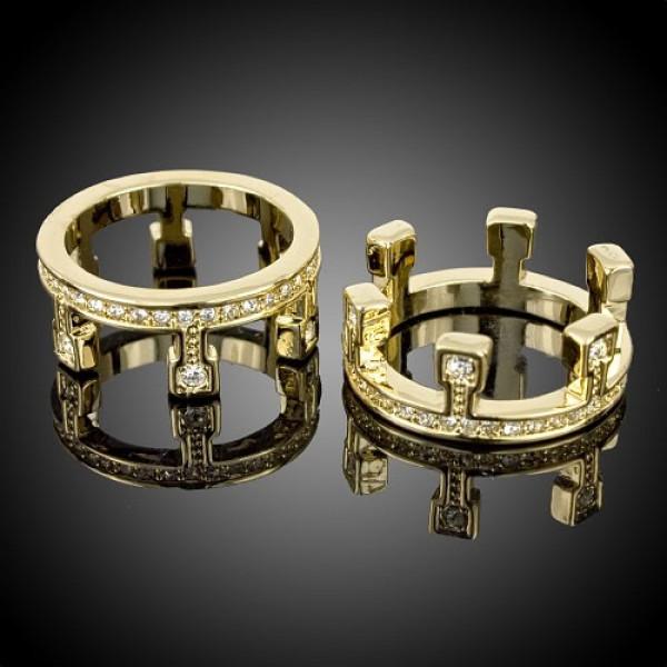 """Обручальное кольцо """"Составное"""" из желтого золота с бриллиантами"""