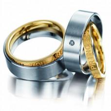 Обручальное кольцо составное из комбинированного золота с бриллиантами