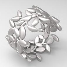 Обручальное кольцо 'Веточка' из белого золота