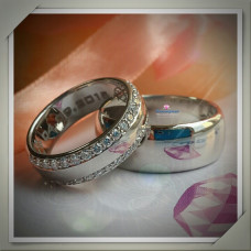 Обручальное широкое кольцо из белого родированого золота