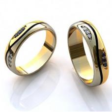 Обручальное кольцо из комбинированного золота с эмалью, бриллиантами и сапфирами