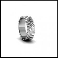 Рельефное обручальное кольцо из белого золота