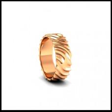 Рельефное обручальное кольцо из розового золота
