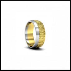 Широкое обручальное кольцо из белого и желтого золота