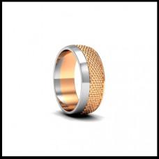 Широкое обручальное кольцо из белого и красного золота