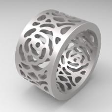 """Широкое обручальное кольцо из белого золота """"Розы'"""