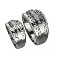 Широкое обручальное кольцо из белого золота с бриллиантами