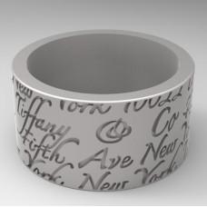 Широкое обручальное кольцо из белого золота с гравировкой