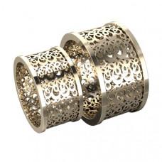 Широкое обручальное кольцо из белого золота с узором
