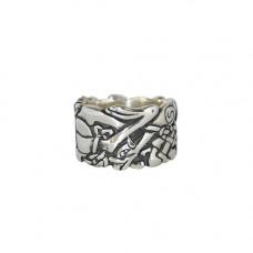 Широкое обручальное кольцо из белого золота