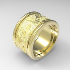 Широкое обручальное кольцо из желтого золота 'Бабочки'