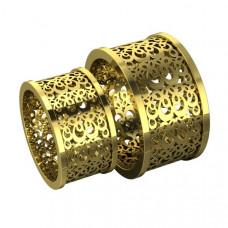 Широкое обручальное кольцо из желтого золота с узором
