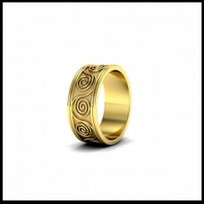 Широкое обручальное кольцо из желтого золота
