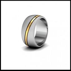 Широкое обручальное кольцо из комбинированного золота с желтой полоской
