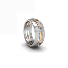 Широкое обручальное кольцо из комбинированного золота