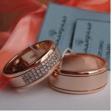 Широкое обручальное кольцо из красного золота с дорожкой бриллиантов
