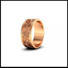 Широкое обручальное кольцо из красного золота