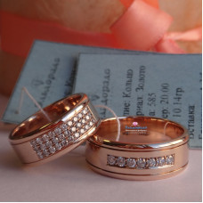 Широкое обручальное кольцо с бриллиантами, из красного золота