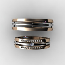 Тройное кольцо из комбинированного золота с бриллиантами