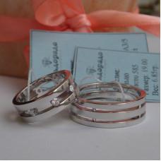 Тройное обручальное кольцо из белого золота