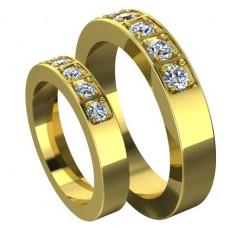 Узкое обручальное кольцо из желтого золота с пятью бриллиантами